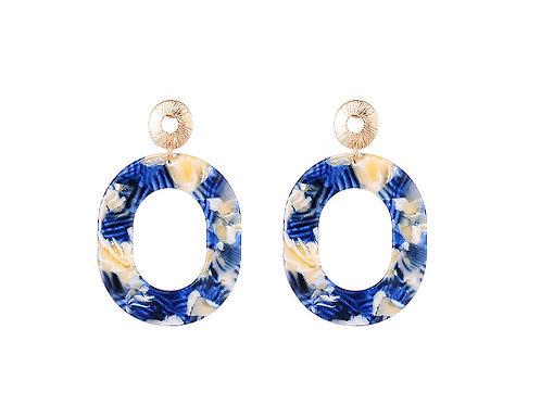 Blue & White Acrylic Hoop Earrings
