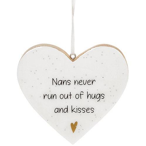 Glitter Words Hanging Heart Sign | Nans
