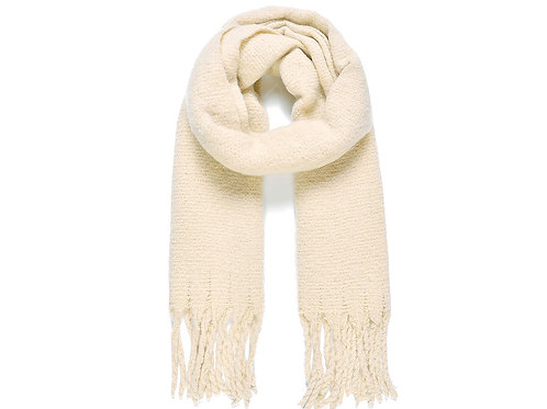 Beige Plain Blanket Scarf With Tassels