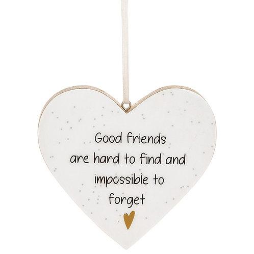 Glitter Words Hanging Heart Sign   Good Friends
