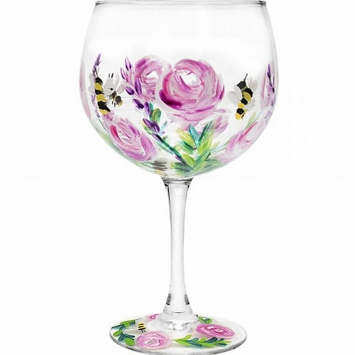 Hand Painted Gin Glass   Bees & Pink Roses
