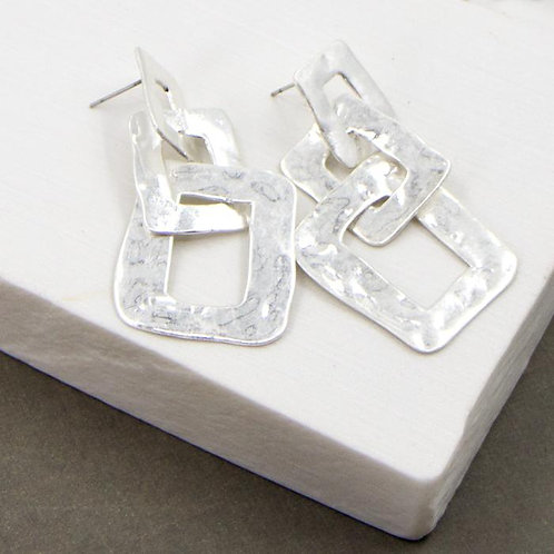 Soft Hammered Square Linked Earrings