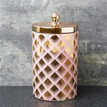 Pink & Gold Storage Jar