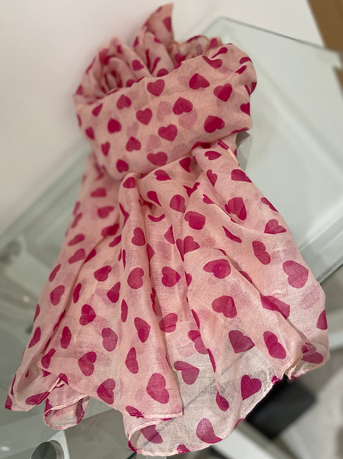 Pink Heart Print Scarf