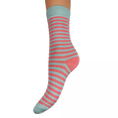 Pink & Blue Stripe Bamboo Socks