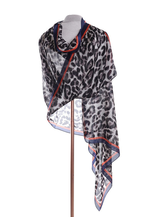 Silk Feel Animal Print Scarf Wrap