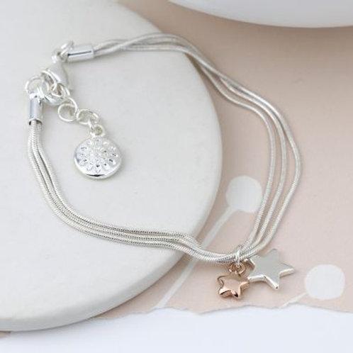 Triple Chain Bracelet With Double Star