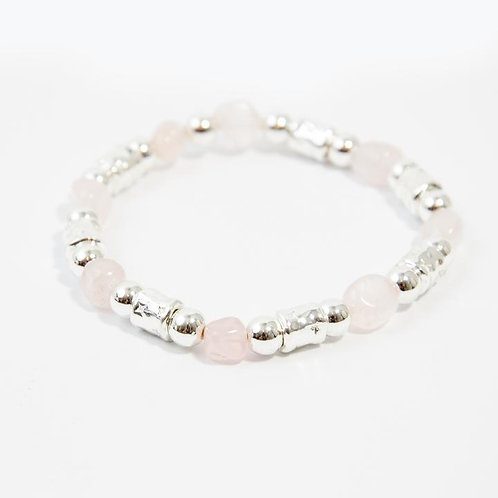 Stretchy Beaded Bracelet With Rose Quartz