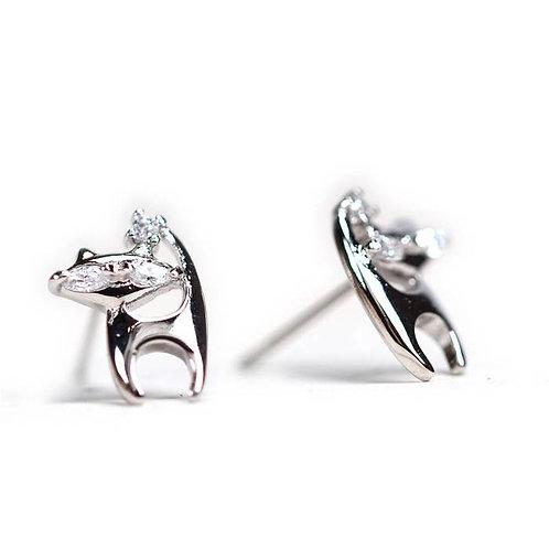 Mini Cat Crystal Earrings