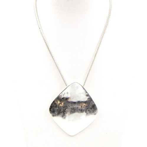 Organic Square Necklace On Short Snake Chain