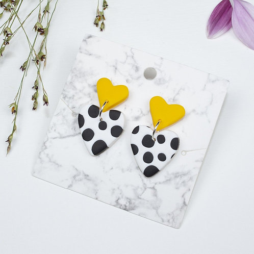 Mini Yellow, White and Black Polkadot Heart Stud Back Dangle and Drop Earrings
