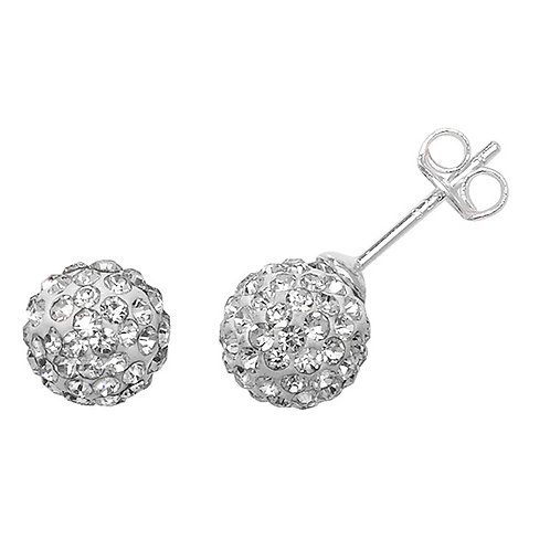 Sterling Silver Clear Crystal Studs