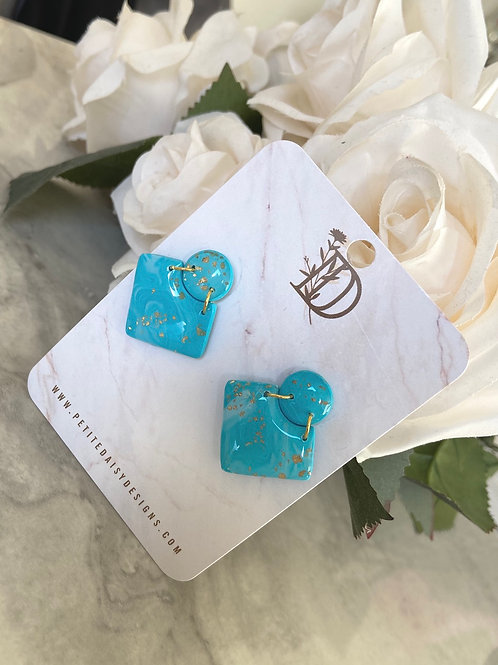 Blue & Gold Statement Square Stud Earrings
