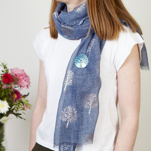 Rose Gold Mulberry Foil Tree Scarf - Blue
