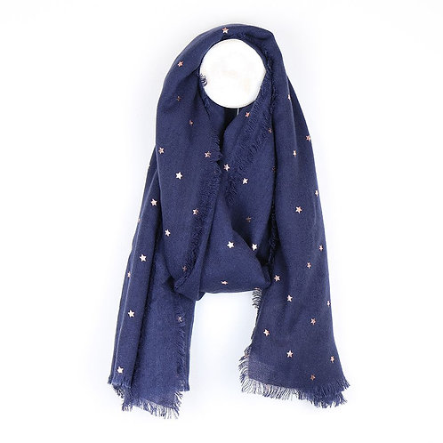 Navy Fringed Scarf With Rose Gold Stars