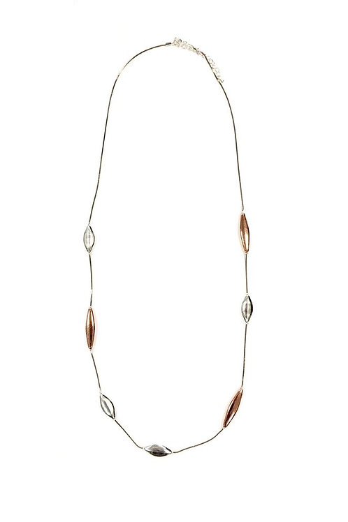 Two Tone Beaded Long Necklace