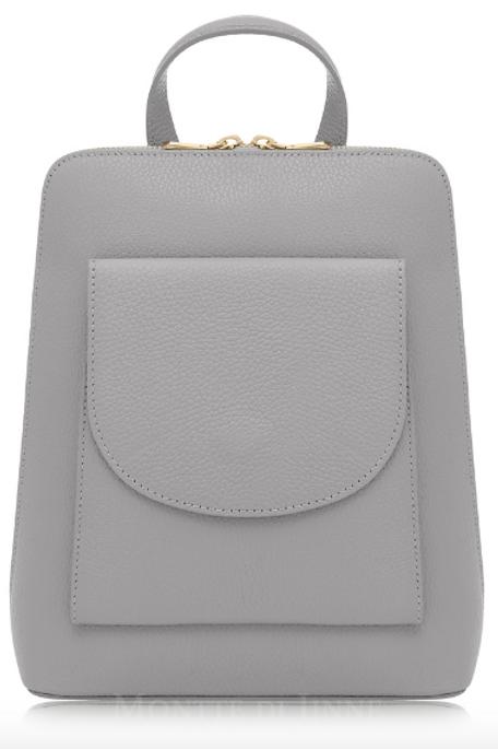 Leather Double Pocket Backpack | Light Grey