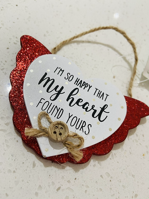 Glitter Red Hanging Heart Signs | I'm So Happy My Heart Found Yours
