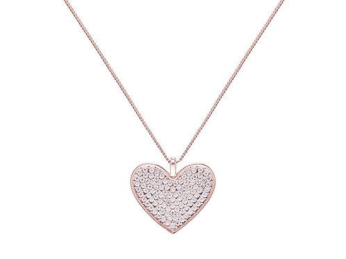 Rose Gold Diamante Heart Long Necklace