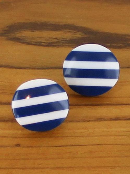 Striped Resin Stud, Blue / White
