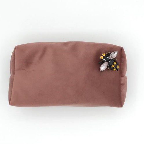 Velvet Make Up Bag With Bumblebee Pin - Dusky Pink