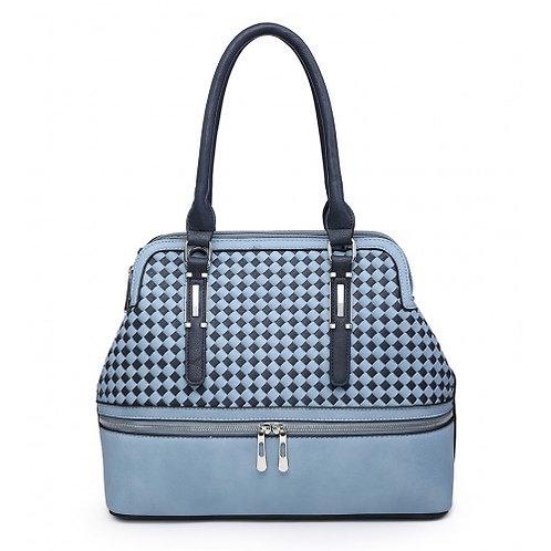Blue Zipper Tote Bag