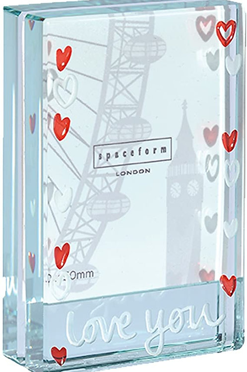 Spaceform Miniature Glass Token Photoframe | Love You