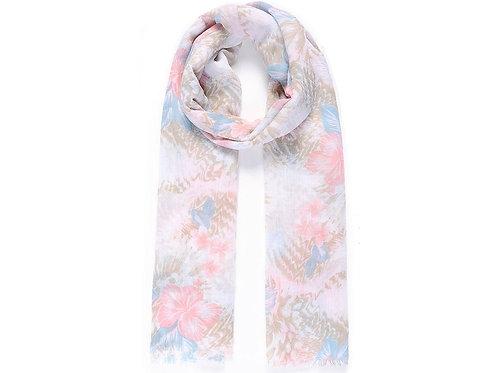 Blue & Pink Floral Scarf