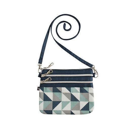 Oil Cloth Pouch Bag | Blue Triangle