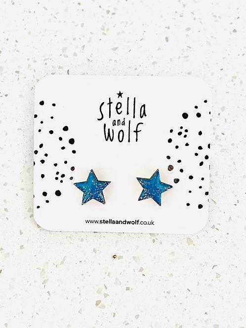 S&W Teal Glitter Gold Stars