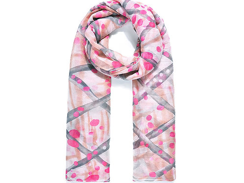 Pink Painted Net Print Scarf