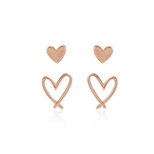 JJ Florrie Heart Stud Earring Set