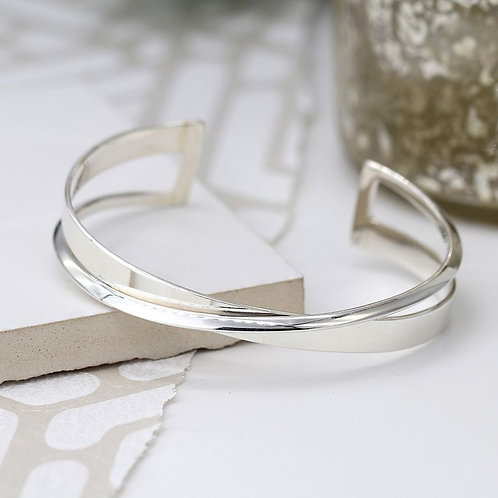 Sterling Silver Crossover Bangle