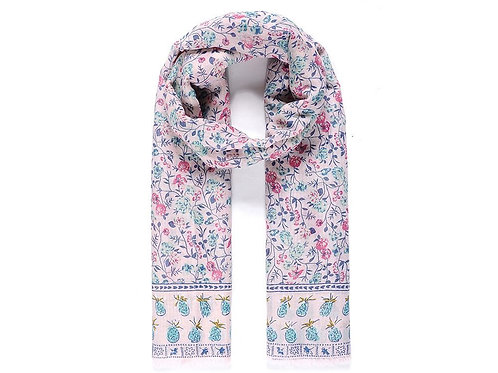 Pink Pineapple Floral Scarf