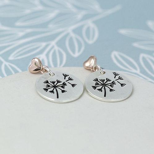 Dandelion Disc And Heart Earrings