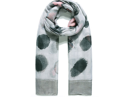Grey Abstract Print Scarf