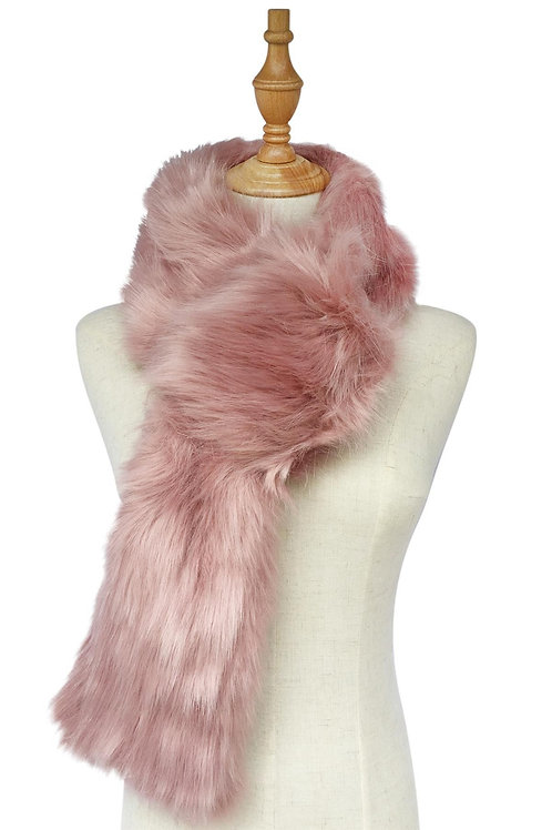 Plain Faux Fur Pull Through Scarf