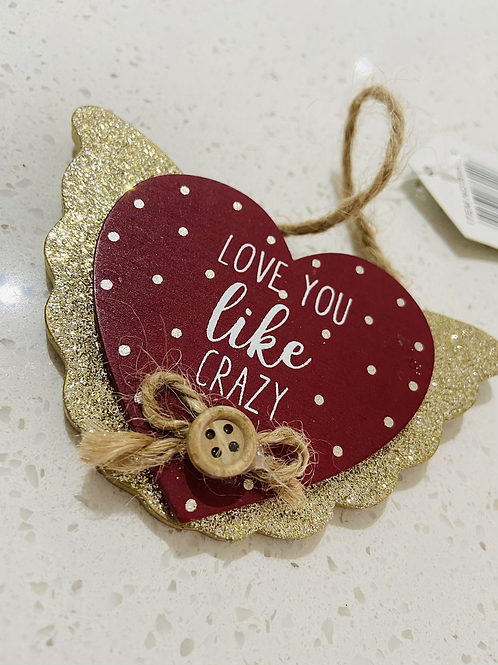 Glitter Red Hanging Heart Signs | Love You Like Crazy