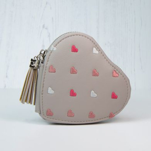 Taupe Grey Heart Shaped Coin Purse