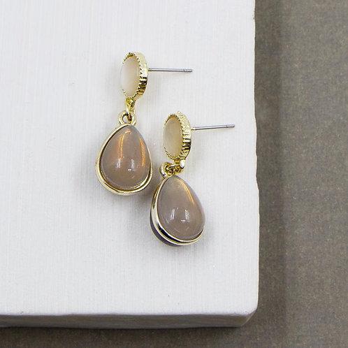 Grey Agate Effect Resin Earrings