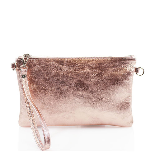 Metallic Rose Gold Leather Clutch / Crossbody Bag