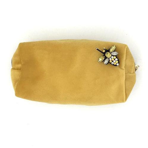 Velvet Make Up Bag With Bumblebee Pin | Amber