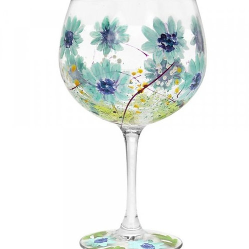 Hand Painted Gin Glass   Blue Gerbera