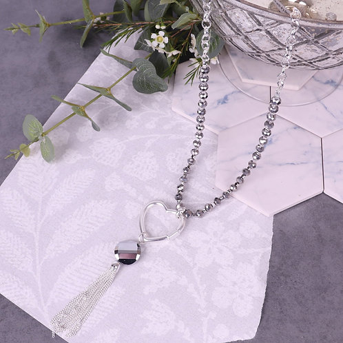 Beaded Long Necklace With Heart Charm