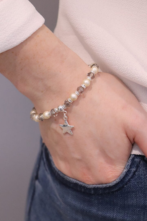 Beaded Pearl Bracelet With Star Charm