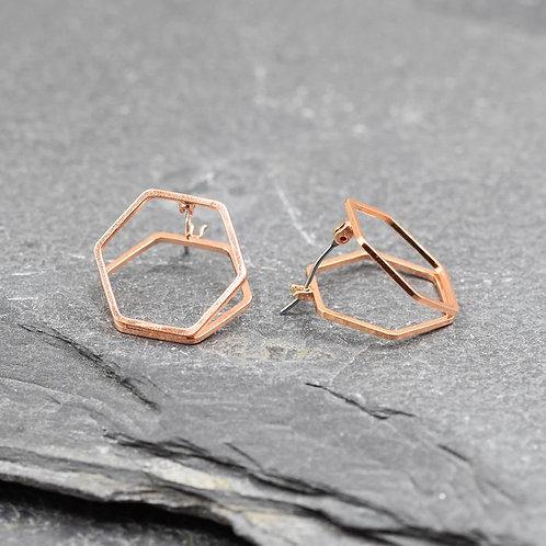 Delicate Double Hexagon Earring