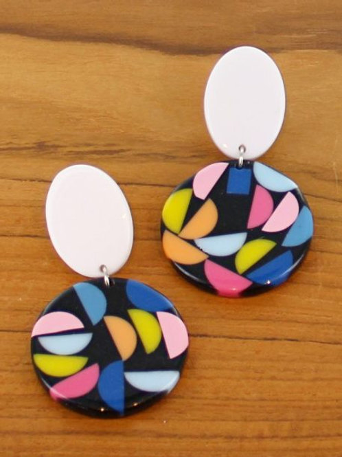 Multi Colour Resin Disc Drop Earrings