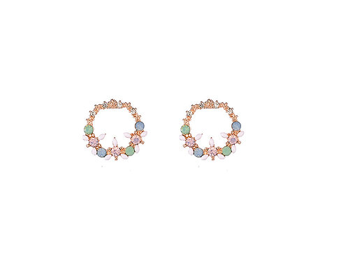 RG Hoop Stud Earrings With Gem Detail