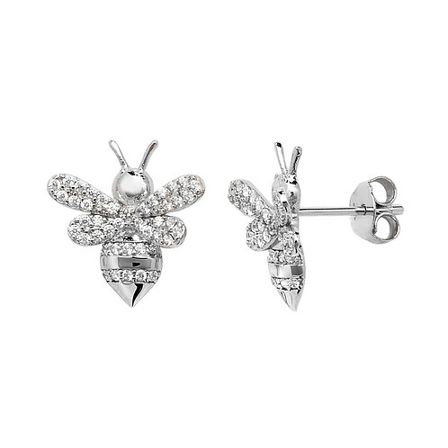 Sterling Silver Crystal Bee Earrings