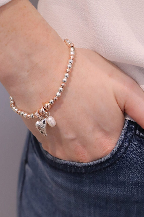 Two Tone Beaded Bracelet With Heart Charm
